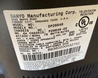 "Sanyo 26"" HDTV LCD TV"