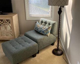 Blue upholstered chair & ottoman; wooden legs