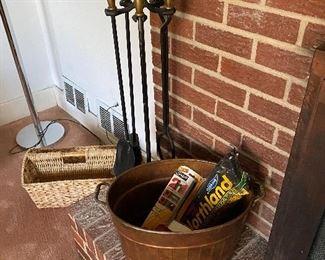 fireplace utensils; copper basket