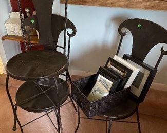 metal black chairs, 4