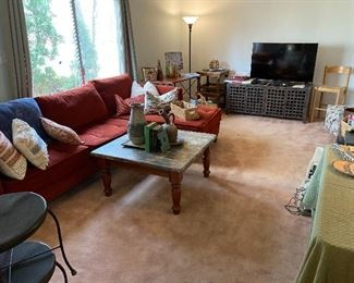 Sectional sofa, throw pillows, square coffee table; furniture & decor