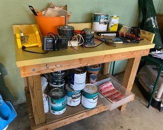 Paint supplies; workbench