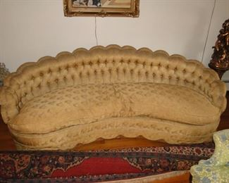 Vintage Down Filled Scalloped Sofa