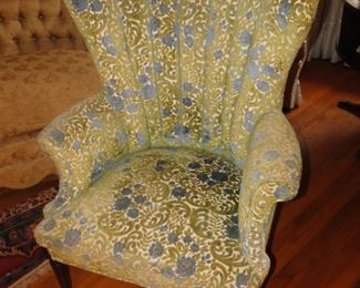 Gold and Silver floral Wing Chair