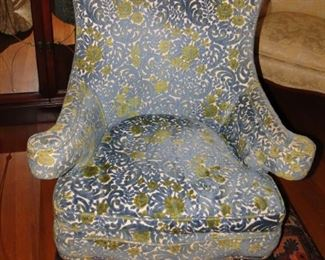 Silver Floral Wing Chair