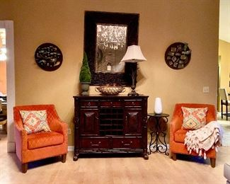 Accent chairs, American signature wine bar console table