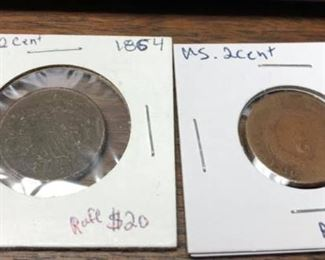 "LRM4007		LRM4007 1864 or 1865 US 2 Cent Piece Prices Marked OBO ""o""  Ages Ago Estate Sales Eastbank / NOLA Collectibles Consignment 712 L And A Rd Suite B Metairie LA 70001. We will be there: Thursday - Saturday 10 till 5; Sunday 2pm till 6pm; Monday - Wednesday by Appointment only; excluding holidays. We are inside of the GoMini Office Building.   No holds unless paid.   We may have to dig it out so let us know when you are coming.  We take Cash App, PayPal, Square, and Facebook Messenger Pay. No Delivery.  Note we take consignments.  Thanks, Rafael  Cash App: $Agesagoestatesales   PayPal Email: Agesagoestatesales@Gmail.com Ages Ago Estate Sales  Venmo: @Rafael-Monzon-1 https://www.facebook.com/AgesAgoEstateSales 504-430-0909"