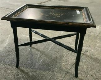 https://www.ebay.com/itm/114544844117	KG046 BLACK AND GOLD SIDE COFFEE ACCENT TABLE WITH FLORAL DESIGN TOP		 Buy-IT-Now 	 $50.00