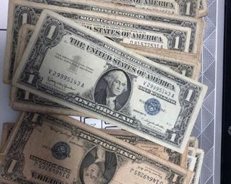 LAR4008 $1 US Silver Certificate $5 each - $4.50 each for 5 or more. 100 available  Ages Ago Estate Sales Eastbank / NOLA Collectibles Consignment 712 L And A Rd Suite B Metairie LA 70001. We will be there: Thursday - Saturday 10 till 5; Sunday 2pm till 6pm; Monday - Wednesday by Appointment only; excluding holidays. We are inside of the GoMini Office Building.   No holds unless paid.   We may have to dig it out so let us know when you are coming.  We take Cash App, PayPal, Square, and Facebook Messenger Pay. No Delivery.  Note we take consignments.  Thanks, Rafael  Cash App: $Agesagoestatesales   PayPal Email: Agesagoestatesales@Gmail.com Ages Ago Estate Sales  Venmo: @Rafael-Monzon-1 https://www.facebook.com/AgesAgoEstateSales 504-430-0909