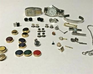 https://www.ebay.com/itm/114544984790	HY010 MENS JEWELRY LOT TIE CLIPS, CUFFLINKS, TIE TACKS AND WATCHES		 Auction