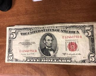LAR9016: Red Seal $5 Note $18 each		OBO