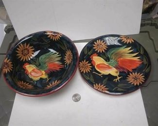https://www.ebay.com/itm/114317815240	WL3060 USED VINTAGE PAINTED ART (chicken, rooster) MATCHING CERAMIC BOWL & PLAT		 Buy-it-Now 	 $20.00