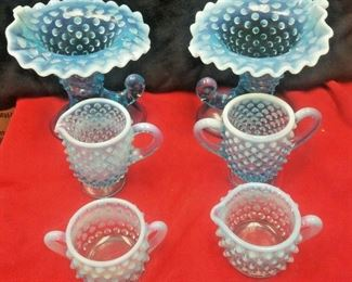 https://www.ebay.com/itm/124320686787	WL3091 LOT OF SIX VINTAGE PCS OF BLUE HOBNAIL GLASS ITEMS		 Buy-it-Now