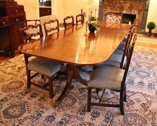 Mahogany double pedestal dining table & chairs