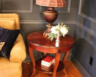 Pair round lamp tables