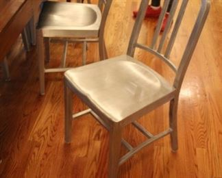 Set of 6 vintage Emeco metal submarine chairs