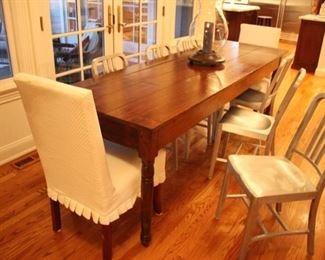 Long vintage dining table (pair upholstered host & hostess chairs not for sale)