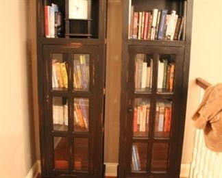 Pair distressed black bookcase cabinets