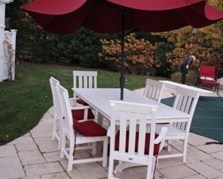 Polywood patio table & 6 chairs (one of 2 sets)