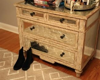Mirrored chest of drawers (one panel as is)