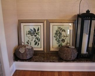 Botanical prints & pair large lanterns