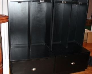 "Pair Pottery Barn ""mud room"" storage cabinets"