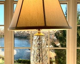 """$250. Hallmarked Waterford crystal, table lamp. Shade is a silk blend and measures 28"""". Base measures 12x6."""