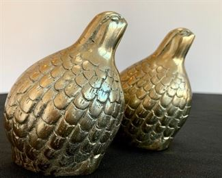 $28 for the Pair of vintage brass quail.