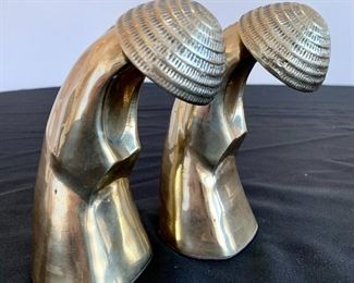 """$60 for the Pair of brass chinoiserie bookends. Measures 6"""" tall."""