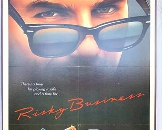 "$100. Vintage, framed foam board ""Risky Business"" movie poster. Measures 41x27."