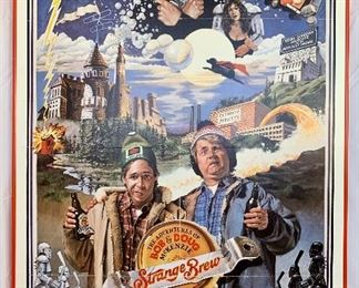 "$100. Vintage, framed foam board ""Strange Brew"" movie poster. Measures 41x27."