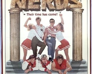 "$100. Vintage, framed foam board ""Revenge of the Nerds"" movie poster. Measures 41x27."