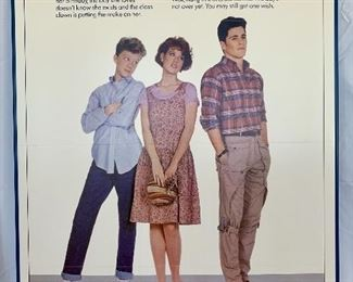 "$100. Vintage, framed foam board ""Sixteen Candles"" movie poster. Measures 41x27."