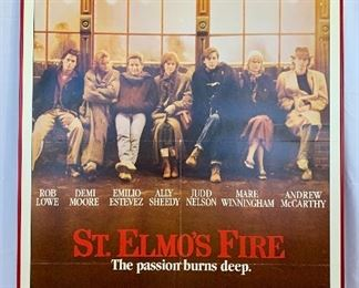 "$100. Vintage, framed foam board ""St.Elmo's Fire"" movie poster. Measures 41x27."