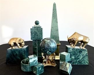 """$100 for the Collection of green marble and brass office decor. Pyramid measures 5x5x16. Small cubes measure 1.5x1.5. Large ball and stand measure, 4"""" in diameter and 7"""" tall. Small round dish has a 3"""" diameter. Brass bear with stand measures 5x2.5x7.5. Brass bull with stand measures 6x3x8.5."""