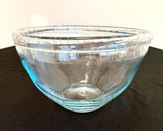"""$12. Large, faux antiqued glass bowl. Bowl has an 11"""" diameter and is 8"""" tall."""