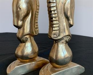 """$40. Pair of solid brass Agate Horse Head bookends. Measures 8"""" tall."""
