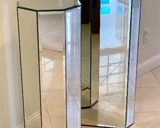 $250 for the PAIR of custom, octagonal, mirror pillars. Small measures 36x14, Large measures 42x14.