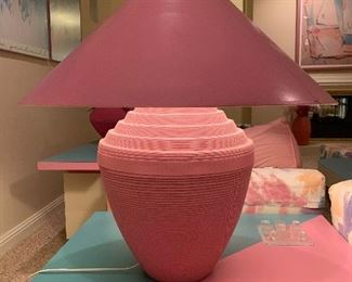 $250. Gorgeous pink lamp from the Flute of Chicago Decor Collection. Lamp shade measures 30x32, base measures 20x18.