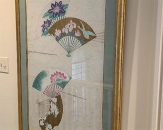 $500 for the PAIR of custom framed, hand painted on rice paper, Asian decorative fans. Artist's signature is in Mandarin. Artwork measures 21x34, with custom matting and frame, 30x43.