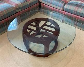 """$450.  Henredon Chinoiserie coffee table with glass top and wood base. Needs a good cleaning! Overall, great condition. 40"""""""