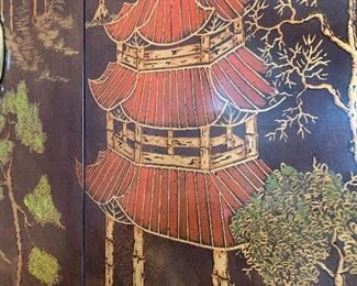 Close up picture of hand painted detail on Chinoiserie Cabinet.