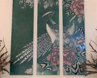 $650. Three panel, hand painted, hand carved, peacocks. This piece is located high up on a wall - we are unable to see the back to note any signature or COA.