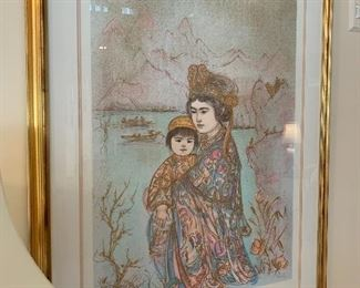 $200. Limited edition and artist signed, 10/48 print by Edna Hibel. Mother and Child, Asian Scene, custom framed measuring 23Lx32H, with frame 35Lx45H. Certificate of Authenticity is attached, print is made of Rives material.(La Petite Gallery-Le Chateau Village)
