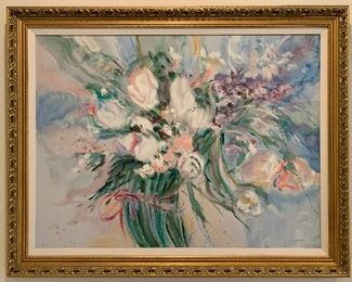 $250. Original, oil on canvas, framed abstract, floral arrangement. Artist is C. Mason, no letter of authenticity. Art is 39Lx29H, with frame 48Lx37H. Excellent condition.