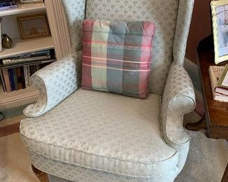 $400 for the PAIR. Two wingback chairs by Fairfield. Fabric is a seafoam green with an arch pattern. Chairs measure 31Lx25Wx42H. Excellent condition. Matching ottoman included.