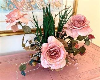 $20. Faux floral in brass color vase.