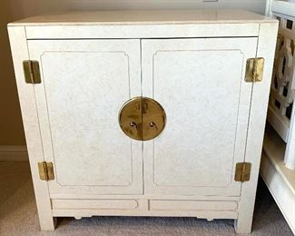$650 for the PAIR of custom designed by Kelly Woodworking, off white, with brass detail, bedside tables/storage cabinets. Tables measure 32Lx18Wx31H. Good condition with some signs of wear.