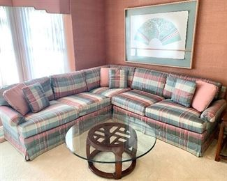 """$650. Vintage Hickory sectional sofa, custom silk fabric. Perfect condition! Each are 94""""L."""