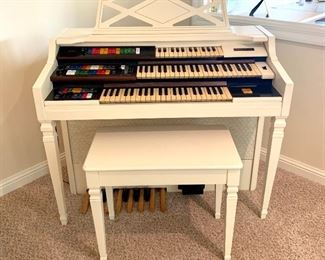 $250. Wurlitzer organ.  Model D-40. 45x24x38. Nicely scaled for a smaller space. It turns on, lights up and makes noise! Assuming it is in good working condition.